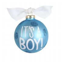 Cotton Colours Blue It's A Boy 10cm Bauble